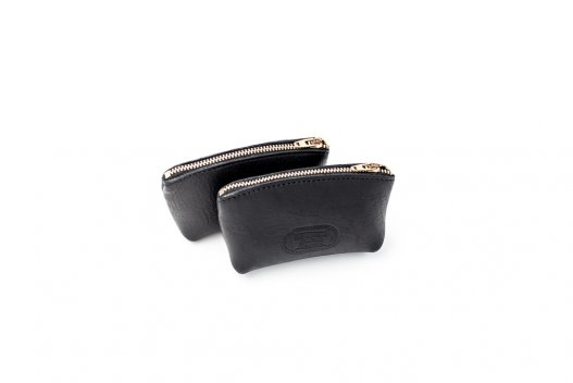 Annie Oakley Magnum Coin Case - Black - Buffalo Leather - Made in USA - Buffalo Billfold Company - Front