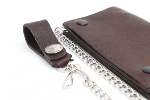 Leather Chain Wallet for Men - Bison Leather - Brown - Made in USA