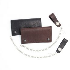 Leather Chain Wallet - Black and Brown