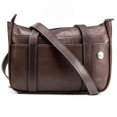Large Buffalo Leather Purse - Brown - 2 Strap