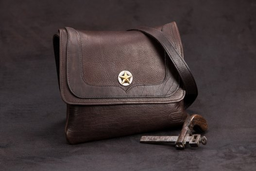 Texas Star Trim Style Purse - Buffalo Leather - Made In America