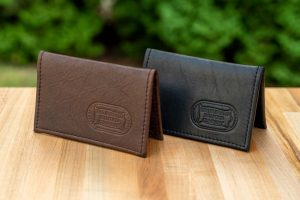 Leather Card Case - Brown or Black Buffalo Leather - Made in USA