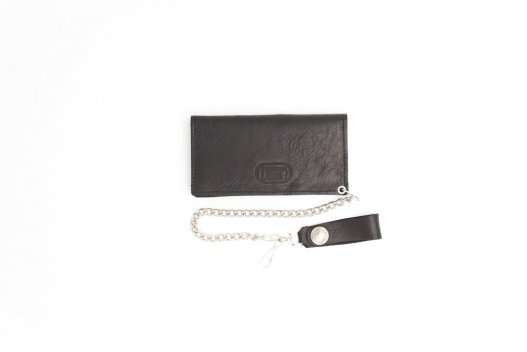 Buffalo Leather Chain Wallet - Black - Made in USA