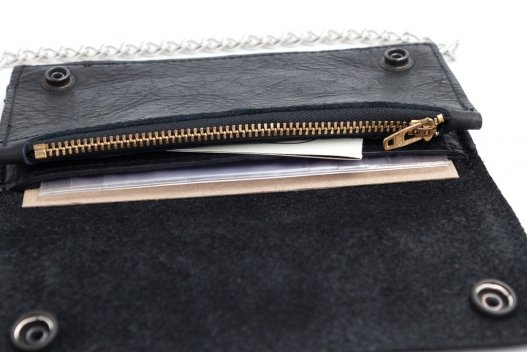 Mens Zipper Wallet - Black - Made in USA