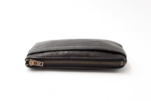 Buffalo Leather Zipper Clutch Purse - Black - Made in America - Buffalo Billfold Company