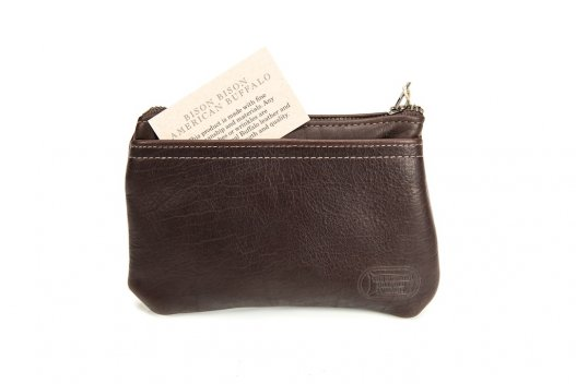 Buffalo Leather Zipper Clutch Purse - Made in America - Buffalo Billfold Company