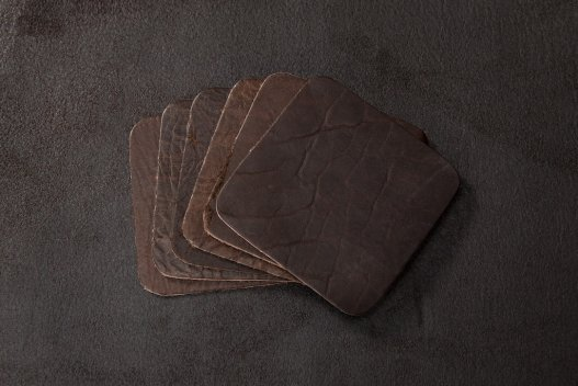 Square Buffalo Leather Coasters - Made in America - Buffalo Billfold Company