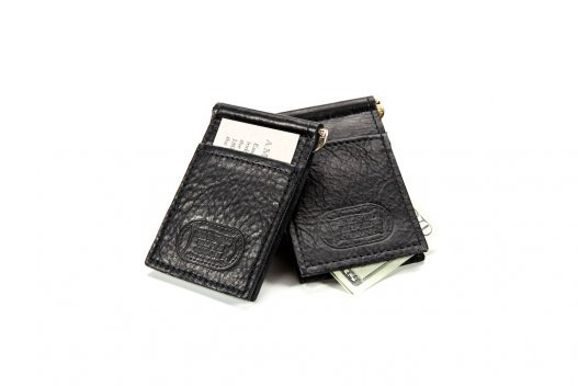 Black Buffalo Leather Money Clip - Made in the USA - Buffalo Billfold Company