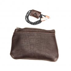 Leather Tech Pouch - Brown - Made in USA - American Bison Leather - Buffalo Billfold Company