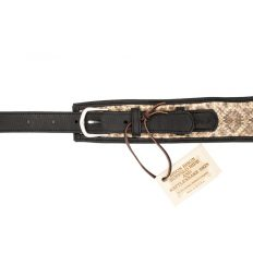 Rattlesnake Guitar Strap - Bison Leather - Black - Made in USA - Buffalo Billfold Company