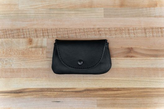 Mens Coin Purse - Black Leather - Button