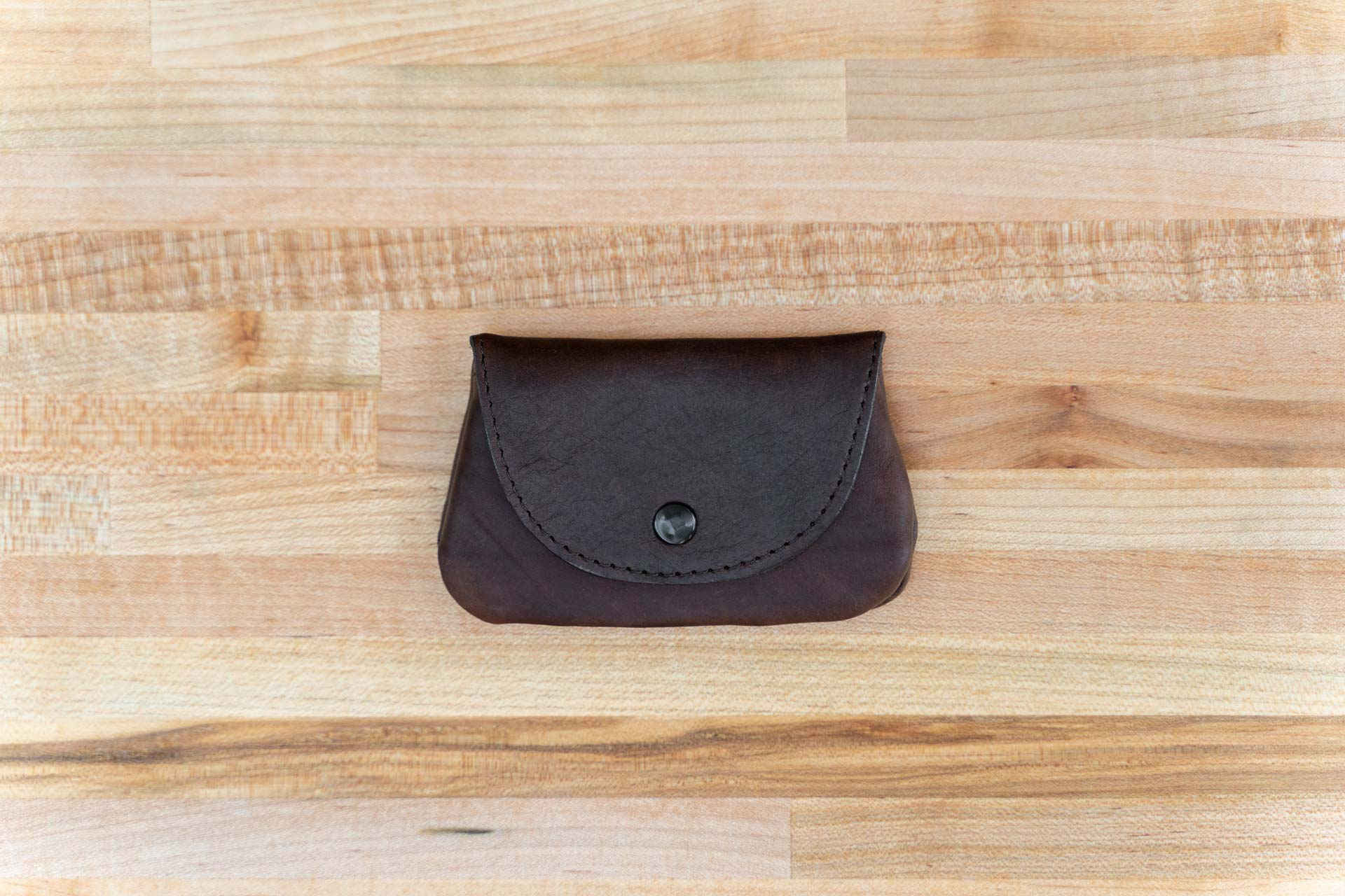 Mens Coin Purse - Brown Leather - Button