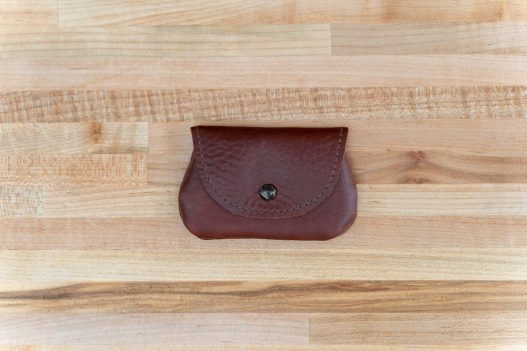 Mens Coin Purse - Red Leather - Button