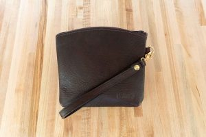 Brown Buffalo Leather Wristlet Pouch - Wrist Bag - Made in USA