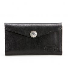 Womens Clutch Wallet - Bison Leather - Black