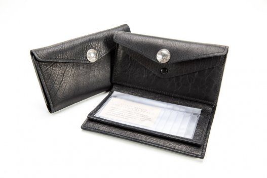 Womens Clutch Wallet - Buffalo Leather - Black