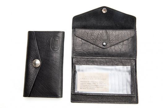 Womens Leather Clutch Wallet - Black