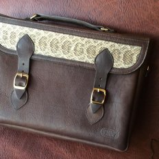 Mens Leather Attache Briefcase - Prairie Rattlesnake