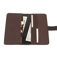Womens Slim Leather Wallet - Brown - Made in USA