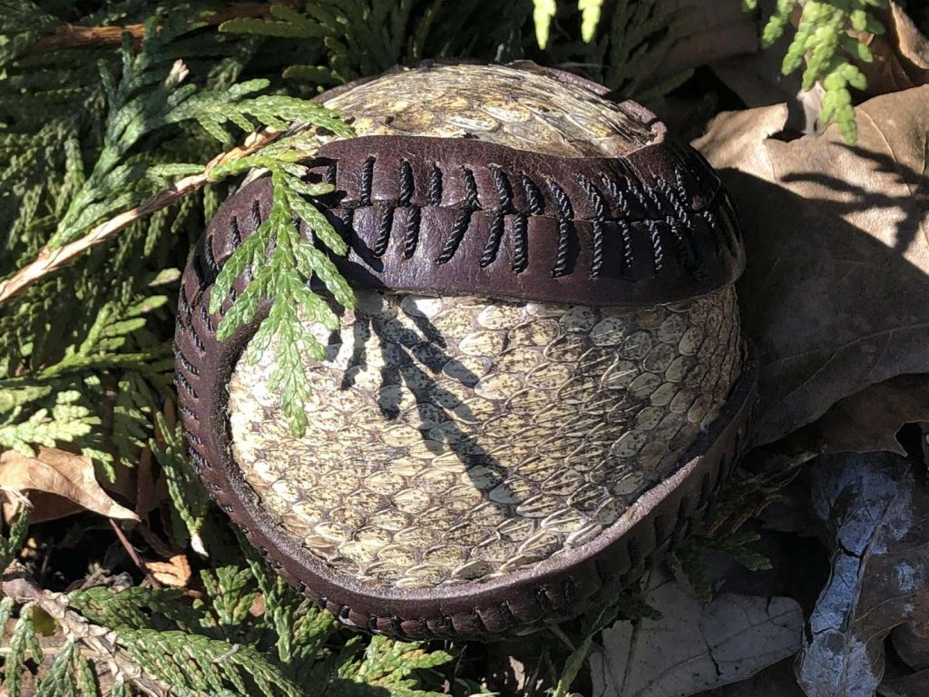 This ball is made from Bison leather and Rattlesnake skin