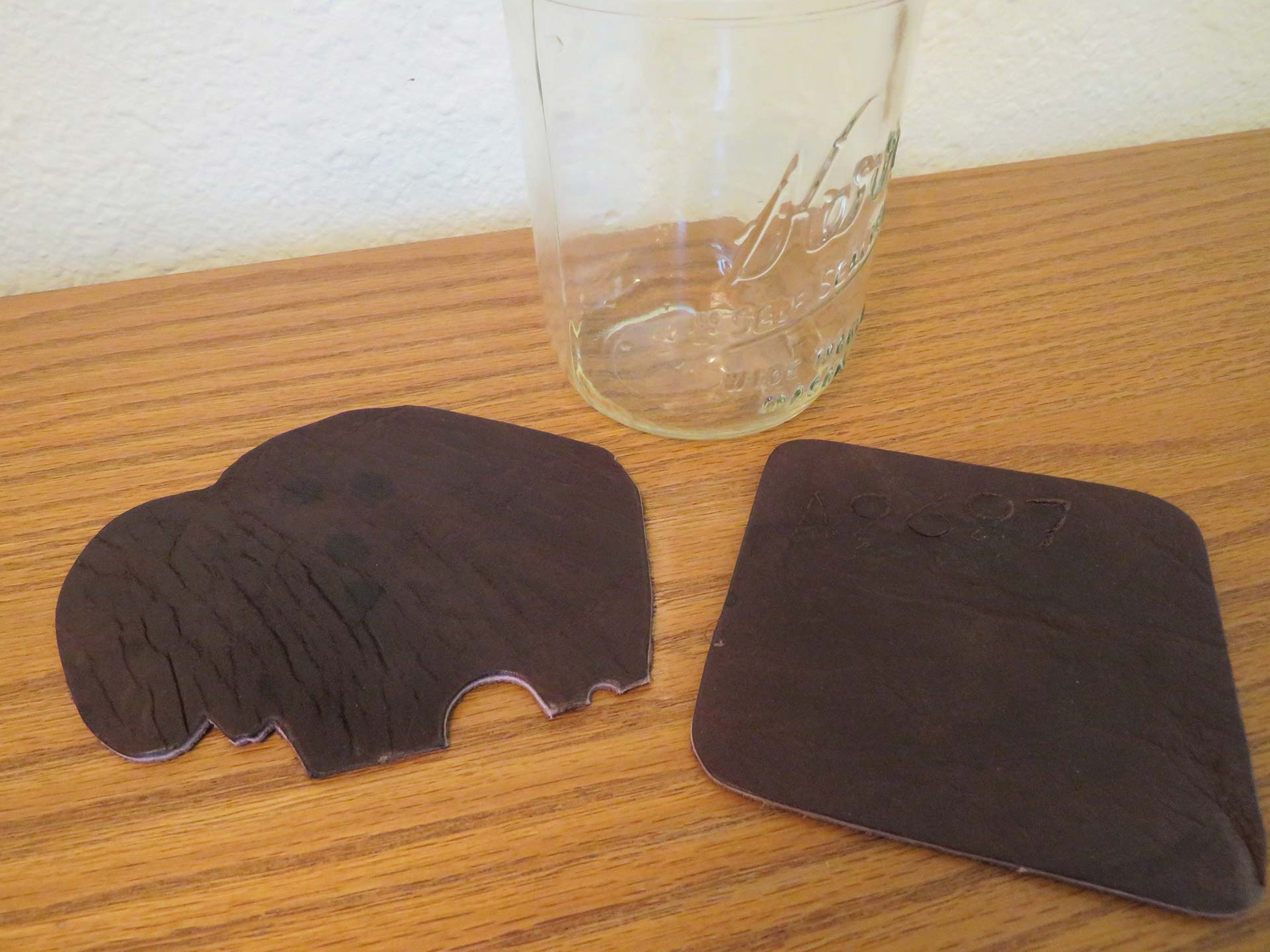 Dried Buffalo Leather Coasters look just like new and worked great