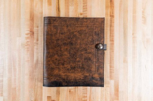 Antique Bomber Jacket Leather 3 Ring Binder - Made in USA - Front