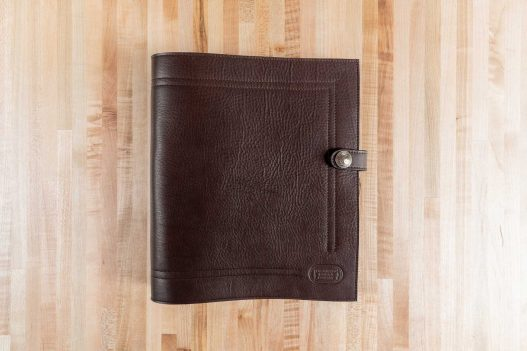 Brown Leather 3 Ring Binder - Made in USA - Front