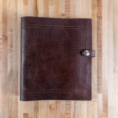 Leather 3 Ring Binder - Dark Cherry Red