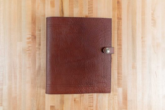 Red Leather 3 Ring Binder - Made in USA - Front