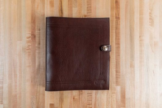 Russet Brown Leather 3 Ring Binder - Made in USA - Front